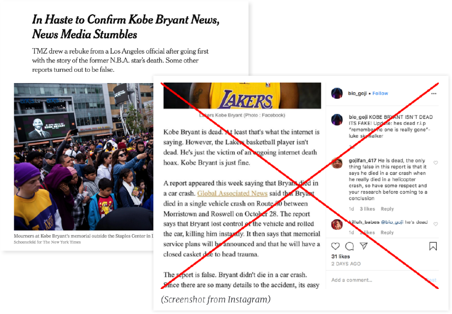 Kobe helicopter crash misinformation